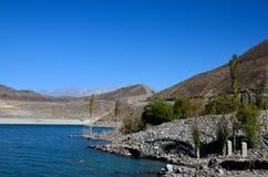 Satpara Lake with submerged PTDC motel sign Skardu Pakistan. Satpara Lake, Skardu, Pakistan - October 2, 2016: Satpara Lake is a natural lake near Skardu, Gilgit Royalty Free Stock Photography