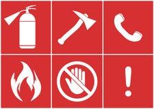 Sats för brandsäkerhet Mot en brand royaltyfri illustrationer