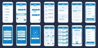 Sats för mobilApp Wireframe Ui Detaljerad wireframe för snabb prototyping royaltyfri illustrationer
