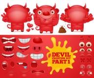 Sats för skapelse för tecken för röd jäkel för tecknad filmemoticon royaltyfri illustrationer