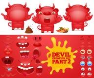 Sats för skapelse för tecken för röd jäkel för tecknad filmemoticon stock illustrationer