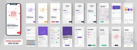 Sats för ui för app för matleverans mobil inklusive tecken upp, matmeny, bokning och hem- service stock illustrationer