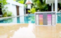 Sats för vattenprovningsprov på simbassängkanten Royaltyfri Foto