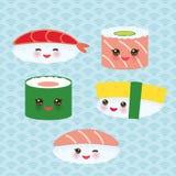 Satsen för Kawaii behandla som ett barn den roliga sushirullar med rosa kinder och stora ögon, emoji blå bakgrund med den japansk vektor illustrationer