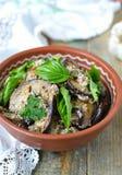 Satsivi - aubergines in pindasaus Traditionele Georgische cuisin Royalty-vrije Stock Foto's