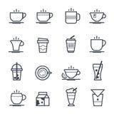 Satt en klocka på slaglängd för kaffe symbol royaltyfri illustrationer