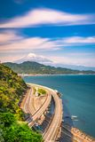 Satta Pass, Shizuoka, Japan. With Mt. Fuji and Suruga Bay stock images