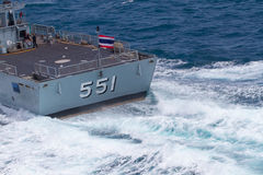 Free SATTAHEEP, THAILAND - June 21: H.T.M.S. Krabi, An Offshore Patrol Vessel Of The Royal Thai Navy Test Control System And Speed Royalty Free Stock Photography - 33604187