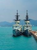sattahip的海军基本的泰国皇家泰国海军knox类大型驱逐舰船坞 库存图片