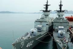@Sattahip delle navi da guerra, Tailandia Immagine Stock