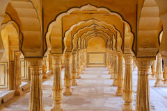 Sattais Katcheri Hall en Amber Fort près de Jaipur, Ràjasthàn, Indi Images stock