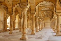 Sattais Katcheri Hall i Amber Fort nära Jaipur, Rajasthan, Indi arkivfoton