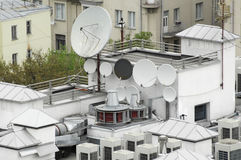 Sattelite antennas on a roof Royalty Free Stock Photo