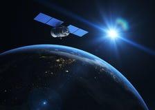 Sattellite en la órbita stock de ilustración