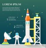 Sattlelite ed astronauta della navetta spaziale con tecnologia avanzata Inf Fotografia Stock