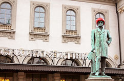 Satue of Nils Ericson in front of Central station in Stockholm royalty free stock images
