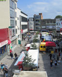 Saturady Market, Aalst, Belgium. AALST, BELGIUM, JUNE 21 2014: View of the Hop Markt and the Saturday morning market in Aalst. The weekly market attracts Royalty Free Stock Photos