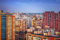 Saturated residential buildings in Kiev, Ukraine, outdoor. Beautiful cityscape with blue skyline. Urban , colourful urbanscape, day Royalty Free Stock Photo