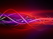 Saturated Tubes and Wires Background. 3d illustration of transparent tubes and wires interwoven horizontally against a red and purple background Royalty Free Stock Images