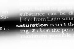 Saturation. Word in a dictionary.  concept stock image