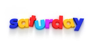 Saturday. Word formed with colourful letter magnets on neutral background Royalty Free Illustration