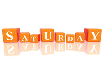 Saturday in 3d cubes Royalty Free Stock Photos