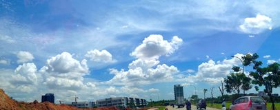 Saturday awesome cotton candy sky. Saturday noon at Alam Sutera Royalty Free Stock Photography