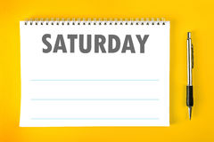 Saturday Calendar Schedule Blank Page Stock Images