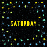 Saturday card template. Handmade childish angular applique star Royalty Free Stock Image