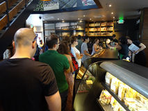 Free Saturday Crowd At Starbucks Royalty Free Stock Image - 54018216