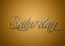 Saturday day of the week gold title background. For wallpaper use design royalty free stock photo