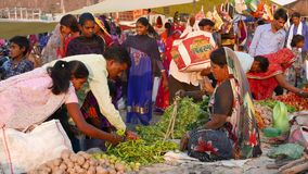 Saturday market at Mandu, Madhya Pradesh, India. Tribal people gather here once a week from the. Mandu, India - December 2, 2017: Saturday market at Mandu stock video