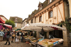 Saturday market Bretenoux France Stock Photos