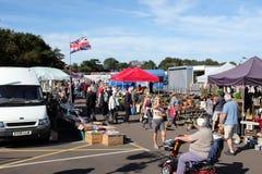 Saturday Market. Sheringham, Norfolk, UK. September 24, 2016. The busy Saturday open market on the car park at Sheringham in Norfolk stock photography