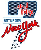 Saturday new york t shirt design for print royalty free stock photo