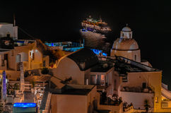 SATURDAY NIGHT ON A CRUISE IN GREECE - THERA - SANTORINI - GREEC Royalty Free Stock Photos