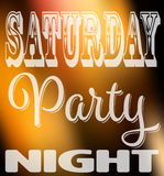 Saturday party night quote. Square card with label in different fonts on night city lights unfocused background Stock Photos