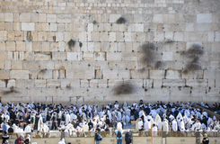 Saturday Pray at Western Wall. Temple Mount. Jerusalem Old City, Israel, Middle East Stock Photo