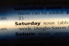Saturday. Word in a dictionary.  concept royalty free stock images