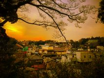 Saturday sunset. Sunset in the city of Narita in Japan stock photo