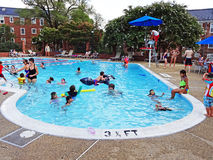 Saturday at the Swimming Pool. Photo of big crowd of people at a swimming pool on a saturday on 8/1/15. This is in a washington dc neighborhood royalty free stock photography