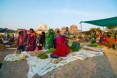 Saturday tribal market at Mandu, Madhya Pradesh, India, near the ancient mosque and islamic heritage. Mandu, India - December 2, 2017: saturday tribal market at stock photography
