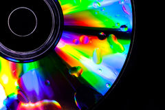 Psychedelic CD. Satured colors for this CD with oil drops on the surface Royalty Free Stock Photo