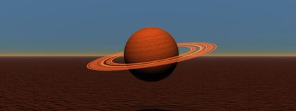 Saturn. Planet saturn and landscape red Royalty Free Stock Photo