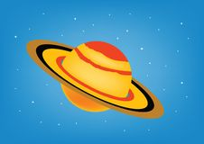 Saturn. On blue sky background
