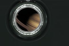 Saturn or alien planet view from spaceship Royalty Free Stock Photography