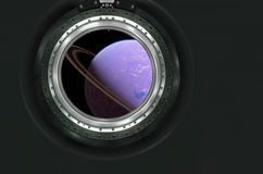 Saturn or alien planet view from spaceship Stock Photo