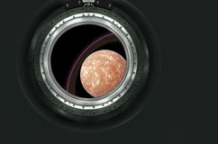 Saturn or alien planet view from spaceship Stock Images