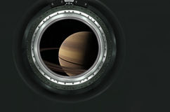 Saturn or alien planet view from spaceship Royalty Free Stock Photos
