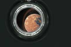Saturn or alien planet view from spaceship Royalty Free Stock Photo